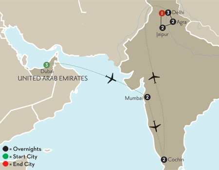 India's Golden Triangle with Dubai & Southern India