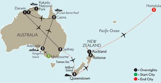 Australian Odyssey with Queenstown, Rotorua & Hawaii