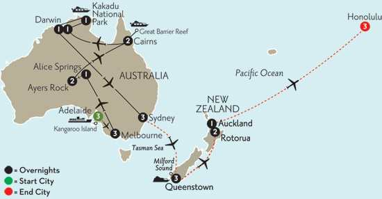 Wonders of Australia with Adelaide, Queenstown, Rotorua & Hawaii