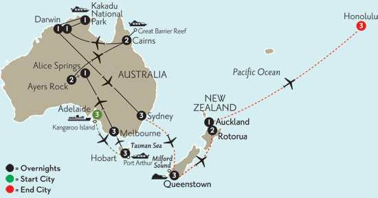 with Adelaide, Hobart, Queenstown, Rotorua & Hawaii