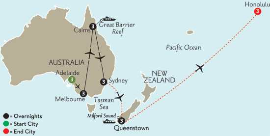 with Adelaide, Queenstown & Hawaii