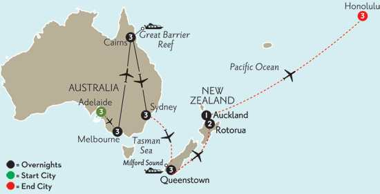with Adelaide, Queenstown, Rotorua & Hawaii