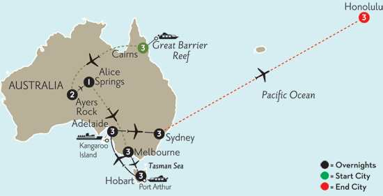 with Cairns, the Outback & Hawaii
