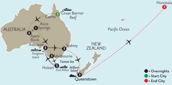 Southern Australia Explorer with Cairns, the Outback, Queenstown & Hawaii