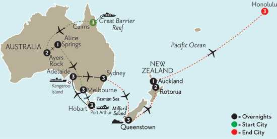 with Cairns, the Outback, Queenstown, Rotorua & Hawaii