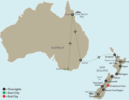 New Zealand Explorer with Melbourne, Cairns & Sydney