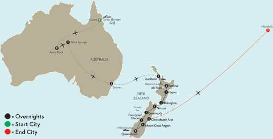 NEW ZEALAND EXPLORER W/ CNS, OUTBACK, SYD & HAWAII