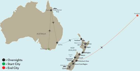 New Zealand Explorer with Melbourne, Cairns, Sydney & Hawaii
