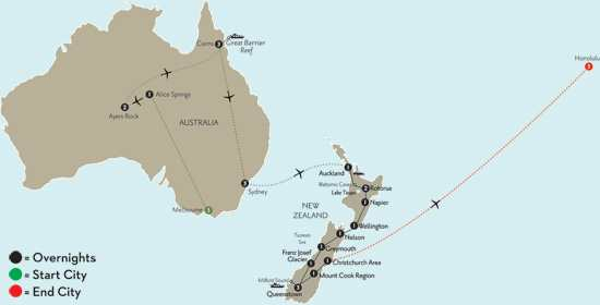 with Melbourne, the Outback, Cairns, Sydney & Hawaii