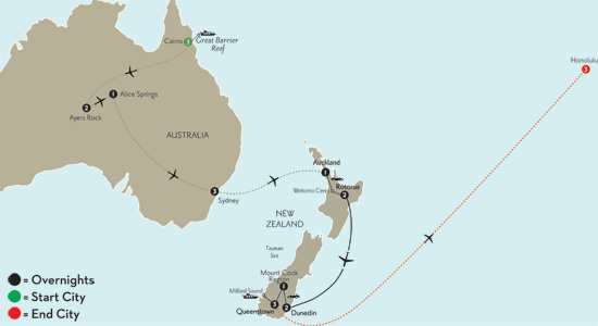 with Cairns, the Outback, Sydney & Hawaii