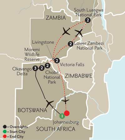 with Zambia's National Parks & Victoria Falls