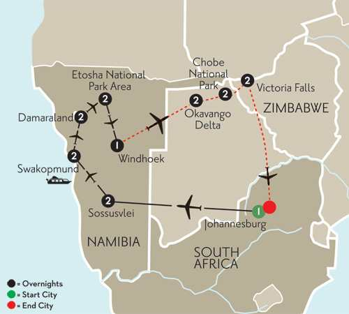 Essence of Namibia with Botswana & Victoria Falls