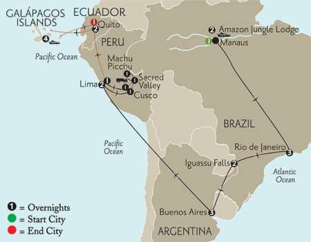 Grand Tour of South America with Brazil's Amazon & the Galápagos on board the Galápagos Explorer II