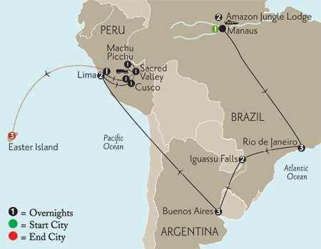 Grand Tour of South America with Brazil's Amazon & Easter Island