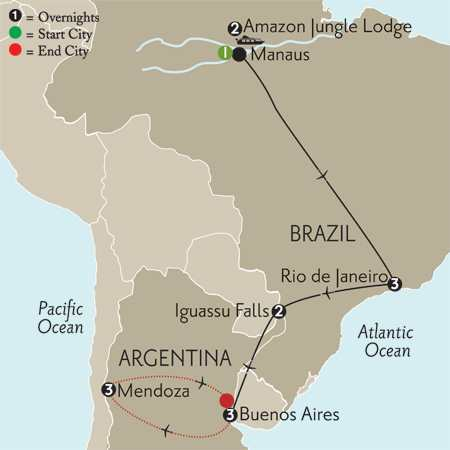 South America Selection with Brazil's Amazon & Mendoza