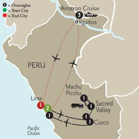Peru Highlights with Peruvian Amazon Cruise
