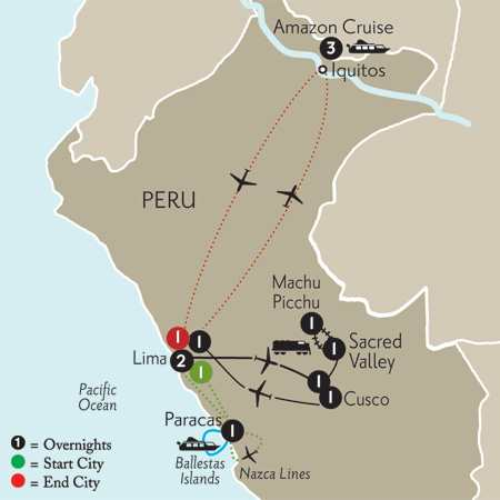 Peru Highlights with Nazca Lines & Peruvian Amazon Cruise