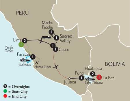 Peru Highlights with Nazca Lines, Lake Titicaca & Bolivia
