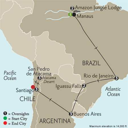with Brazil's Amazon & Atacama Desert