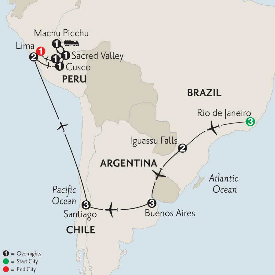 Brazil, Argentina & Chile with Peru & Machu Picchu