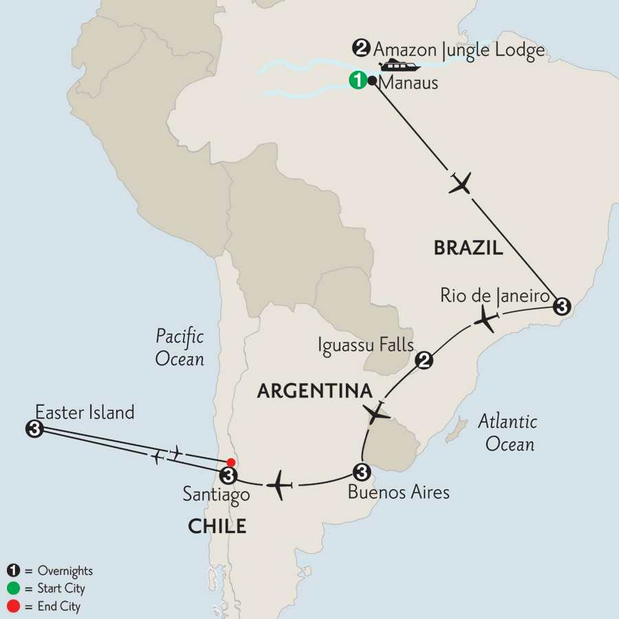 with Brazil's Amazon & Easter Island