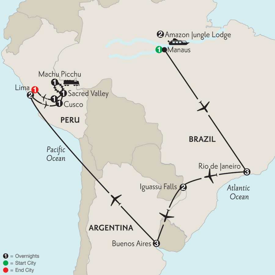 Grand Tour of South America with Brazil's Amazon
