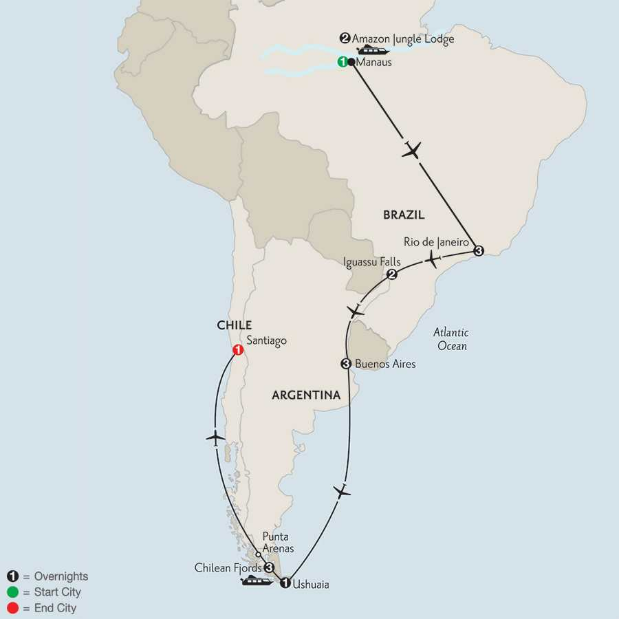 with Brazil's Amazon & Chilean Fjords Cruise